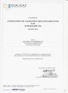VALIDATION DES CONNAISSANCES GAZ